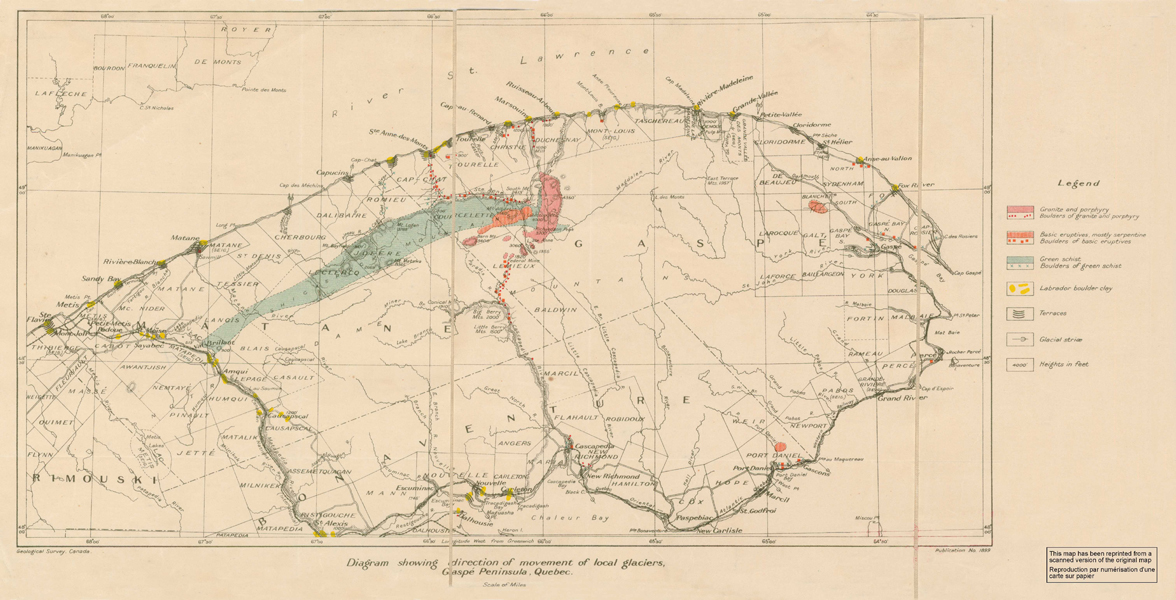 Gaspe Canada Map.A P Coleman Exhibition Glaciation Atlantic Ice Ages Part 1 Of 2