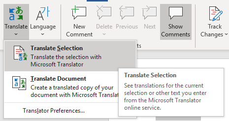 image of translate selection and translate document