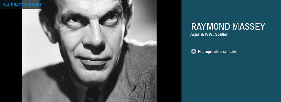 Portrait photograph of Raymond Massey.