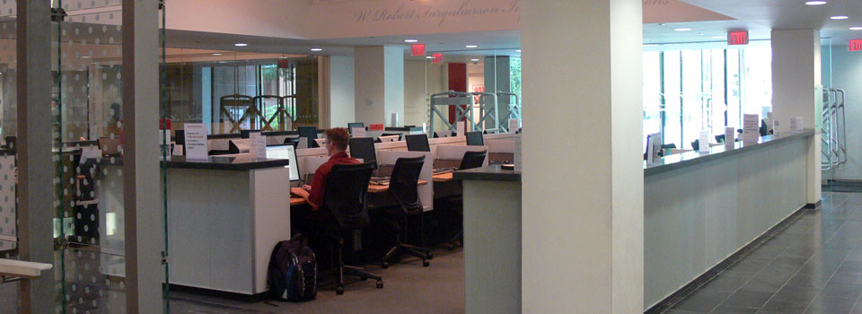 Image of North Information Commons on the main floor, where computer workstations are located.