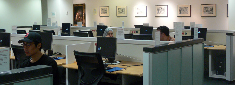 Image of South Information Commons on the main floor, where computer workstations are located.
