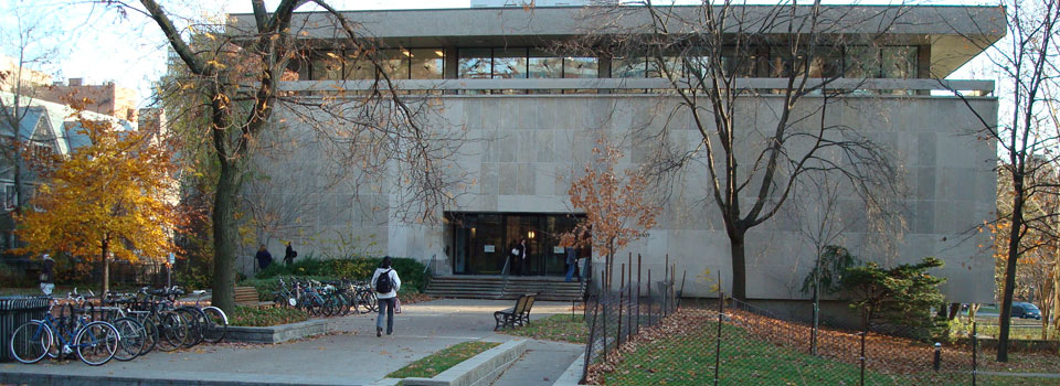 Exterior photograph of E.J. Pratt Library, depicting the main entrance.