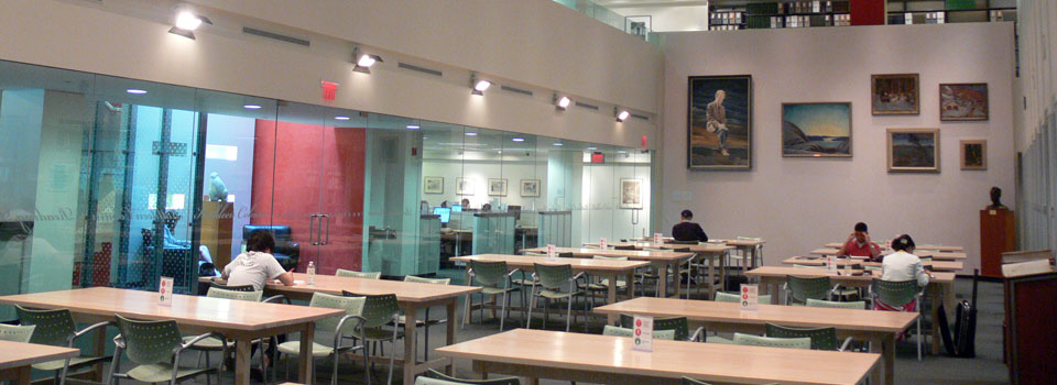 Image of the reading room on the main floor, where users study and work on their assignments.