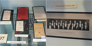(left) Booklets from various student clubs (right) photo of Conversazione Committee