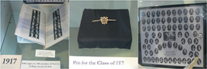 (left to right) Acta Victoriana War Supplement, Class Pin, photo of graduating class