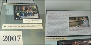 (left to right) photo of the Book Sale, article from Vic Report