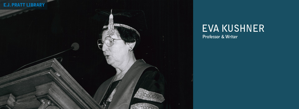 Photograph of Eva Kushner accepting Honorary Doctorate from St. Michael's College, 1993.
