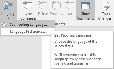 Language Settings in Microsoft Word (2016 Edition
