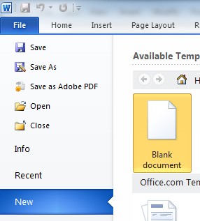 If you would like to open another new document, under the File tab in the top left corner, click New and select Blank document. ...